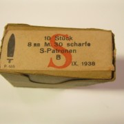package for 8x56R ammo with Nazi marking on paper label NO AMMO